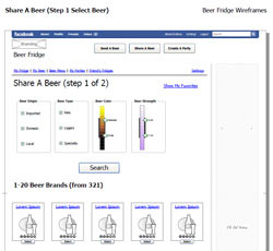 Beer Fridge Facebook Application wireframe