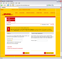 DHL.ca Sign Up