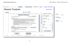 LiveCareer Online Resume Builder wireframe